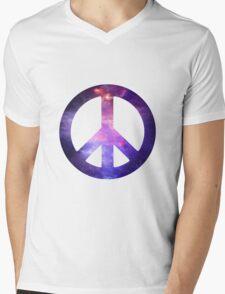 Peace Sign Galaxy Mens V-Neck T-Shirt