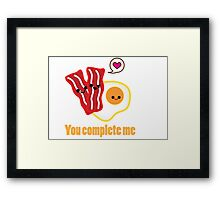 Kawaii Valentines Bacon&Eggs Card Framed Print