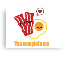 Kawaii Valentines Bacon&Eggs Card Canvas Print