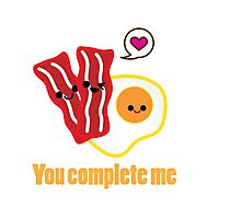 Kawaii Valentines Bacon&Eggs Card Photographic Print