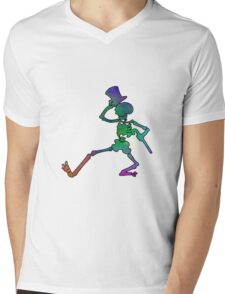 Grateful Dead Dancing Skeleton Trippy Mens V-Neck T-Shirt