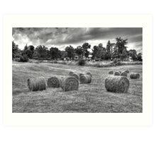 Hay bales in Tuscany Art Print