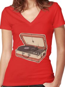 Vintage Record Player Women's Fitted V-Neck T-Shirt