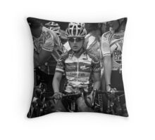 Race Face - Competitive Cyclist in Black and White Throw Pillow