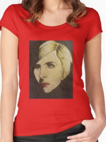 portrait of Blond Women's Fitted Scoop T-Shirt