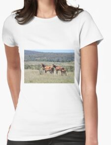 Wild Brumbies with Foals Womens Fitted T-Shirt
