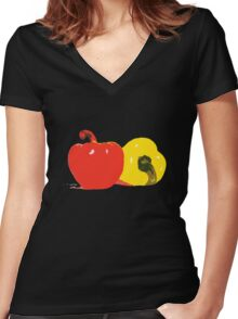 Peppers Graphic Women's Fitted V-Neck T-Shirt