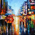 Night Umbrellas — Buy Now Link - www.etsy.com/listing/193230081 by Leonid  Afremov