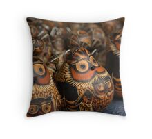 unblinking owls Throw Pillow
