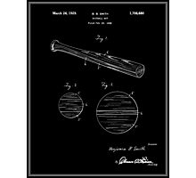 Baseball Bat Patent - Black Photographic Print