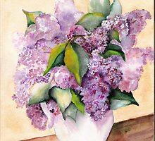 """"""" Lilacs In White Pitcher"""" by Marsha Woods"""