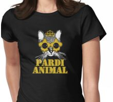 Black and Gold Pardi Animal Womens Fitted T-Shirt