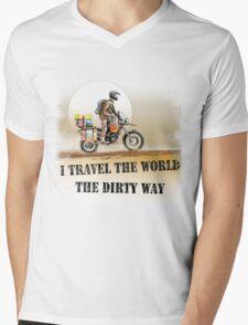 I Travel the World the Dirty Way Mens V-Neck T-Shirt