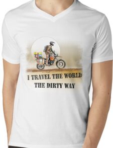 I Travel the World the Dirty Way Mens V-Neck T-Shirt