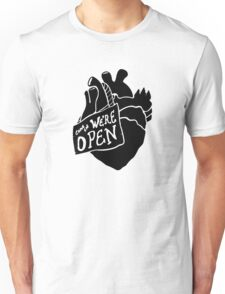Come In, We're Open! - Black Unisex T-Shirt