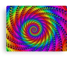 Psychedelic Rainbow Fractal Spiral Canvas Print