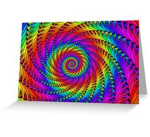 Psychedelic Rainbow Fractal Spiral Greeting Card