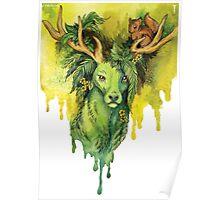 Green Forest Deer Spirit Poster