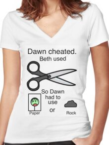 Dawn Cheated - Rock, Paper, Scissors  Women's Fitted V-Neck T-Shirt