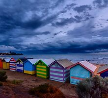 Beach Boxes in a Storm by William Vaux