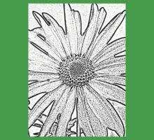 Black and White Textured Flower Design One Piece - Short Sleeve