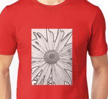 Black and White Textured Flower Design Unisex T-Shirt