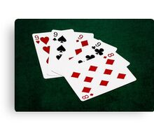 Poker Hands - Four Of A Kind - Nines and Eight Canvas Print