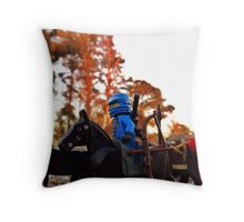 Blue Ninja arrival at the swamp Throw Pillow