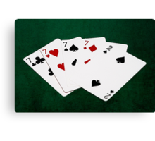 Poker Hands - Four Of A Kind - Sevens and Two Canvas Print