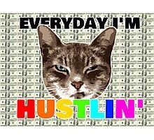 Everyday I'm hustlin' (cat version) Photographic Print