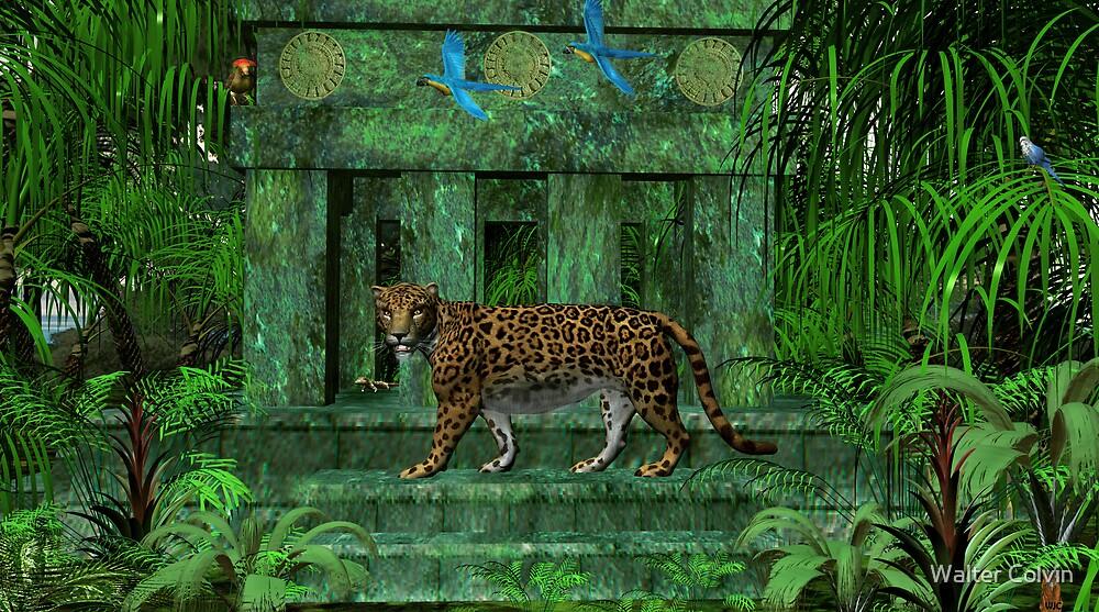 Maya Ruins Jaguar by Walter Colvin