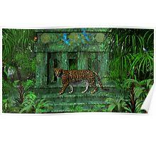 Maya Ruins Jaguar Poster