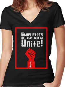 Shoplifters of the World, Unite! (2) Women's Fitted V-Neck T-Shirt