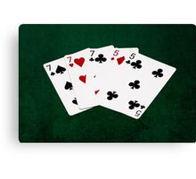 Poker Hands - Full House - Seven and Five Canvas Print