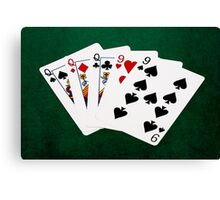 Poker Hands - Full House - Queen and Nine Canvas Print