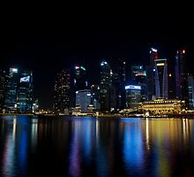 Singapore Skyline by Night by tpixx