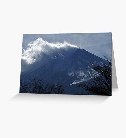 Wind blowing snow on Mount Fuji Greeting Card