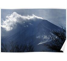Wind blowing snow on Mount Fuji Poster