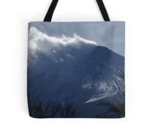 Wind blowing snow on Mount Fuji Tote Bag