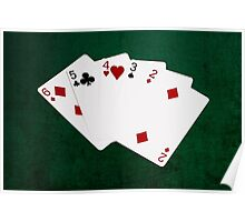 Poker Hands - Straight - Six To Two Poster
