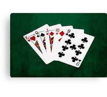 Poker Hands - Straight - King To Nine Canvas Print