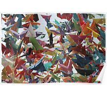 Multi-colored Origami Butterflies Poster