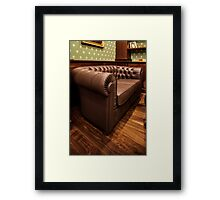 leather sofa in Home Interior Framed Print