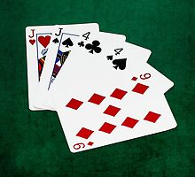 Poker Hands - Two Pair - Jack, Four by luckypixel
