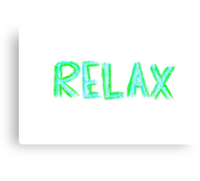 Word Relax, colorful hand writing on paper, happiness conceptual image Canvas Print