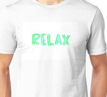 Word Relax, colorful hand writing on paper, happiness conceptual image Unisex T-Shirt