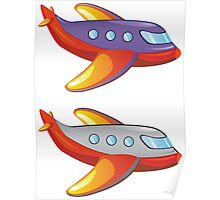 Colorful cartoon airplane Poster