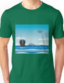 Big airplane in the sky and cruise liner in the sea Unisex T-Shirt