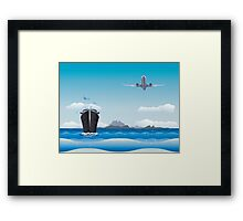 Big airplane in the sky and cruise liner in the sea Framed Print