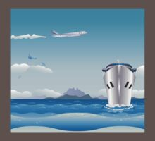 Big airplane in the sky and cruise liner in the sea One Piece - Short Sleeve